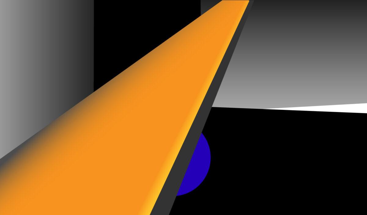 Grafiskt designmönster med orange, grått och svart-vitt.