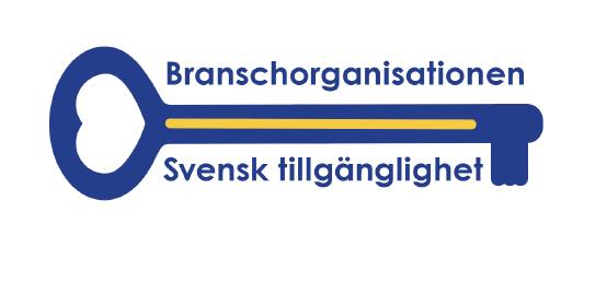Logga till Branschorganisationen Svensk Tillgänglighet. Hjärtat symboliserar värme och medmänsklighet och nyckeln gör samhället tillgängligt för fler.